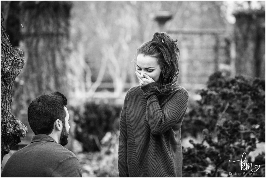 proposal reaction in black and white - Indianapolis engagement and wedding photographer