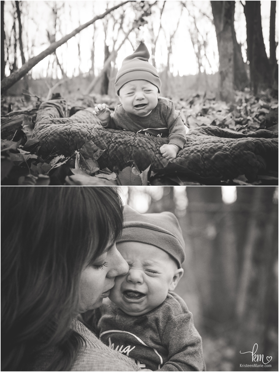 black and white crying baby pictures