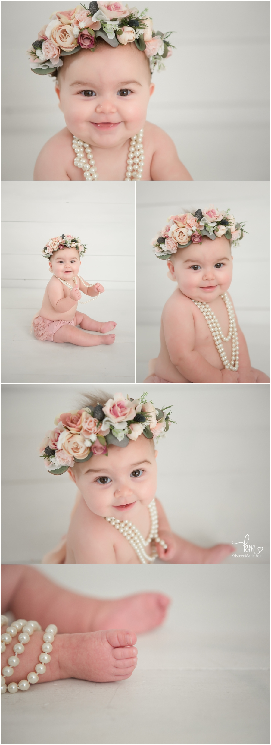 sitter session - baby in pink floral crown in studio