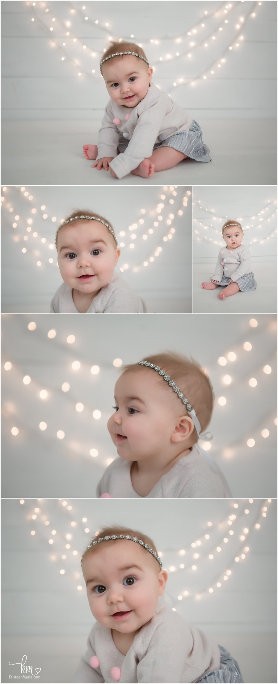 Images with white lights behind baby - sitter session by KristeenMarie Photography
