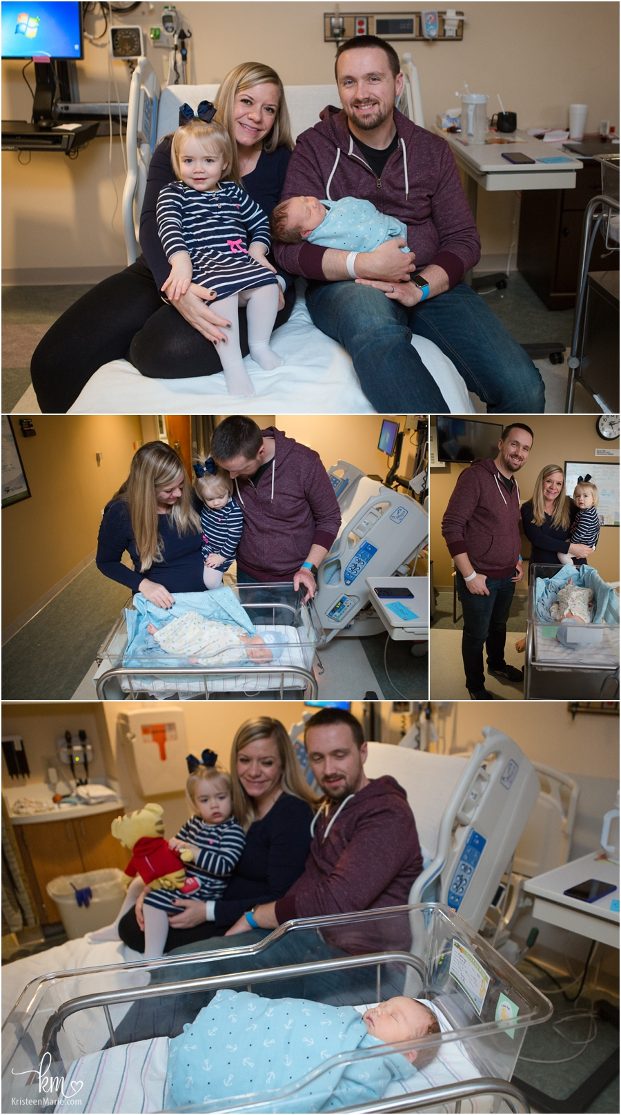 A family of 4 in the hospial after birth of baby