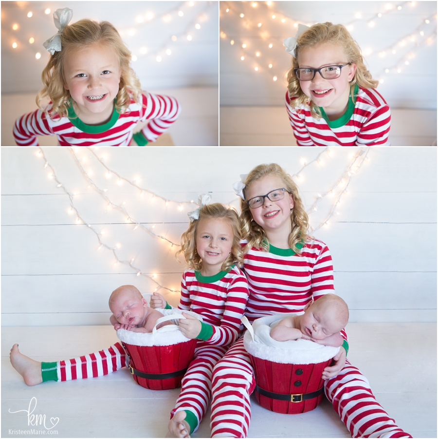 Christmas picture wiht newborn twins boys and their sisters
