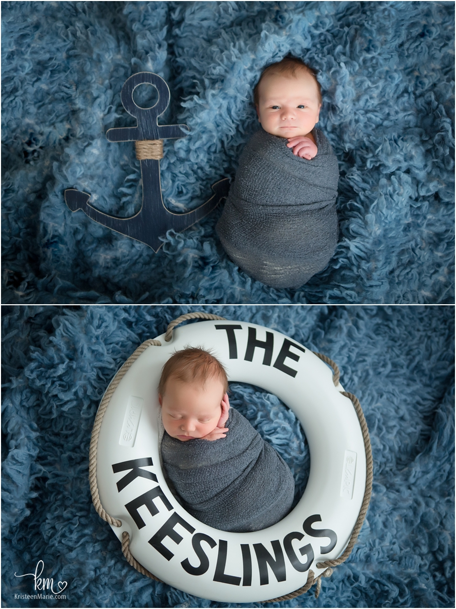 nautical themed newborn pictures baby in lifesaver and baby with anchor