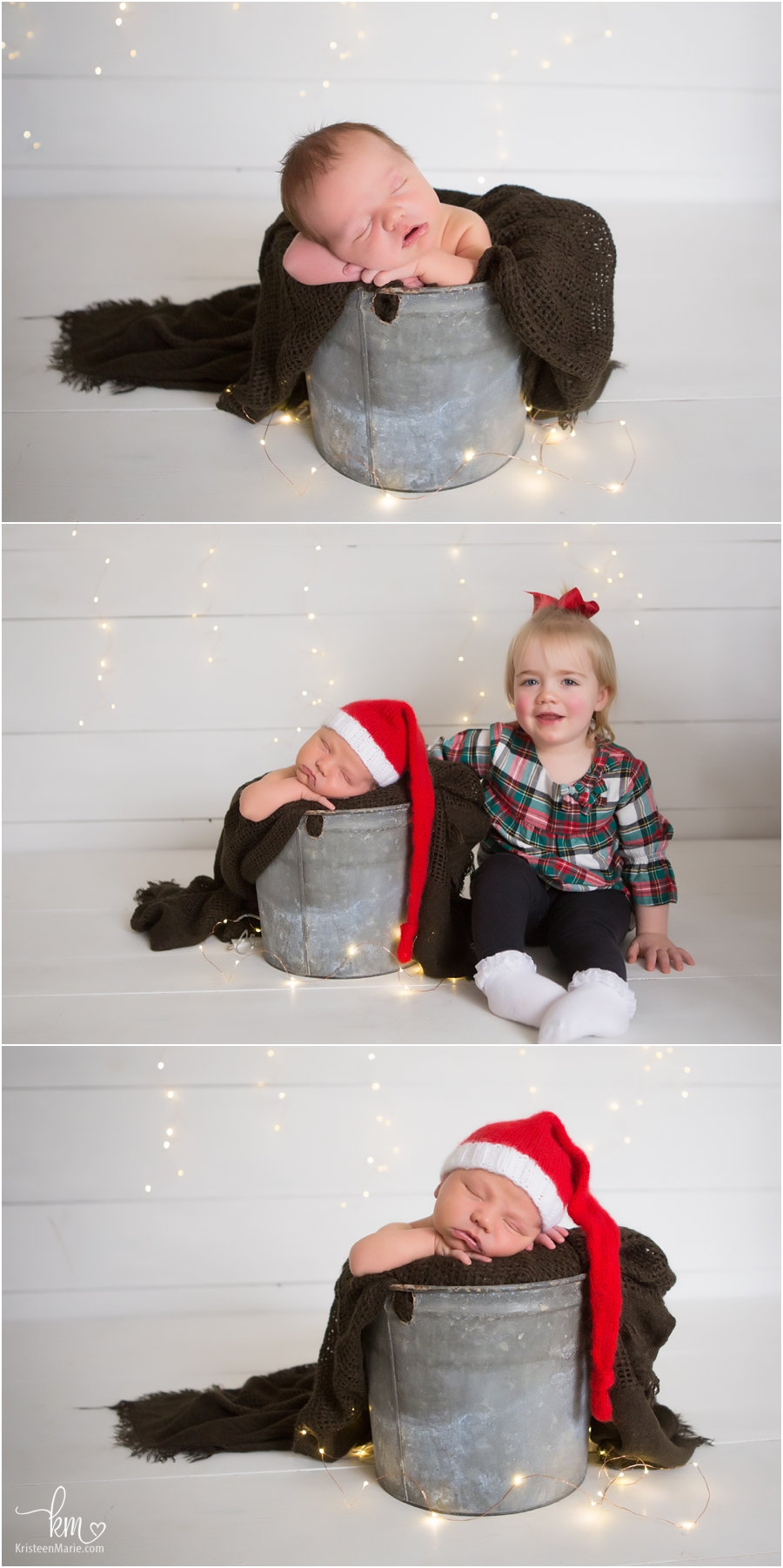 Christmas themed newborn pictures - santa hat and holdiay lights