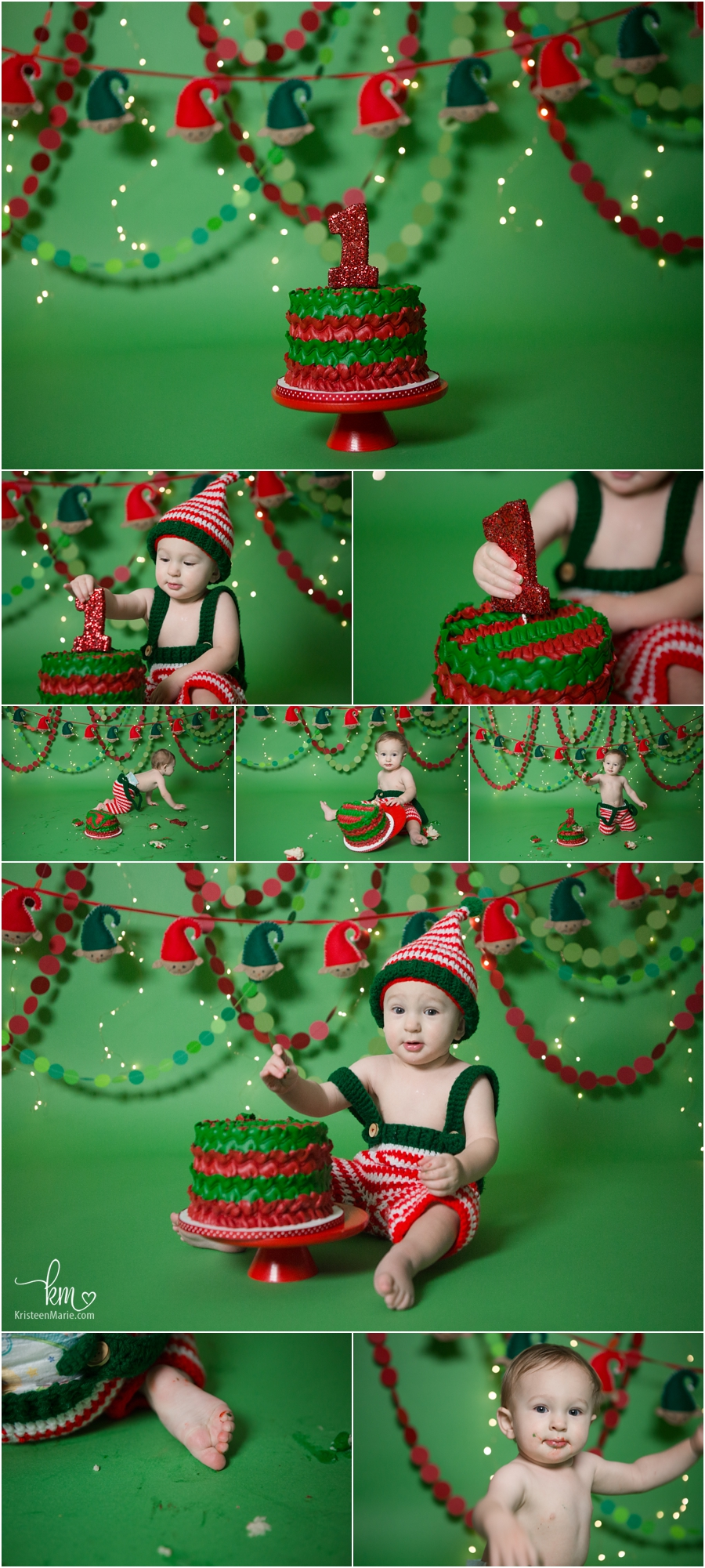 Elf themed Christmas 1st birthday cake smash session