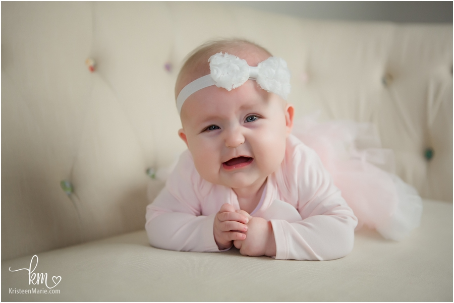 baby girl photography with couch