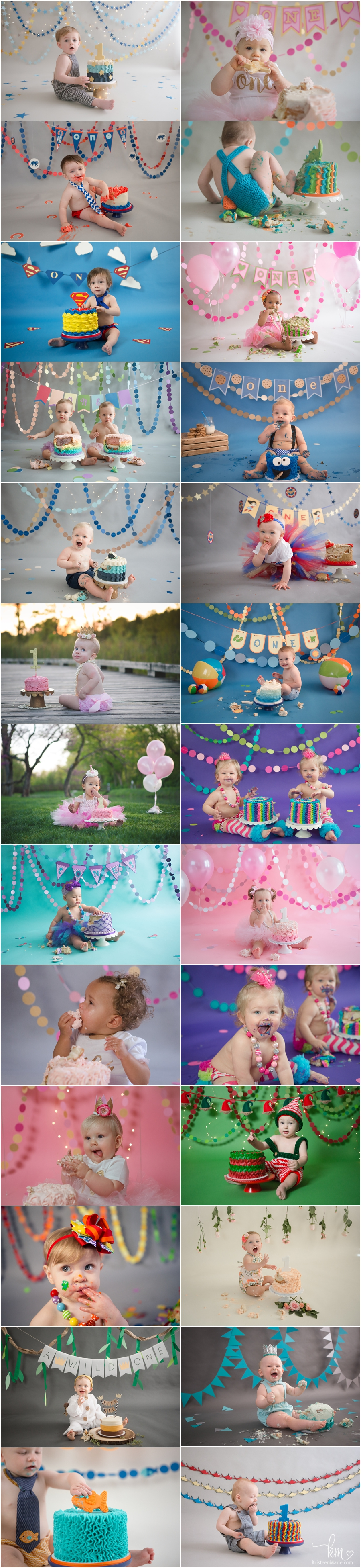 1st Birthday Cake Smash Session Ideas - Lots of Birthday Cake Smash Sessions by KristeenMarie Photography