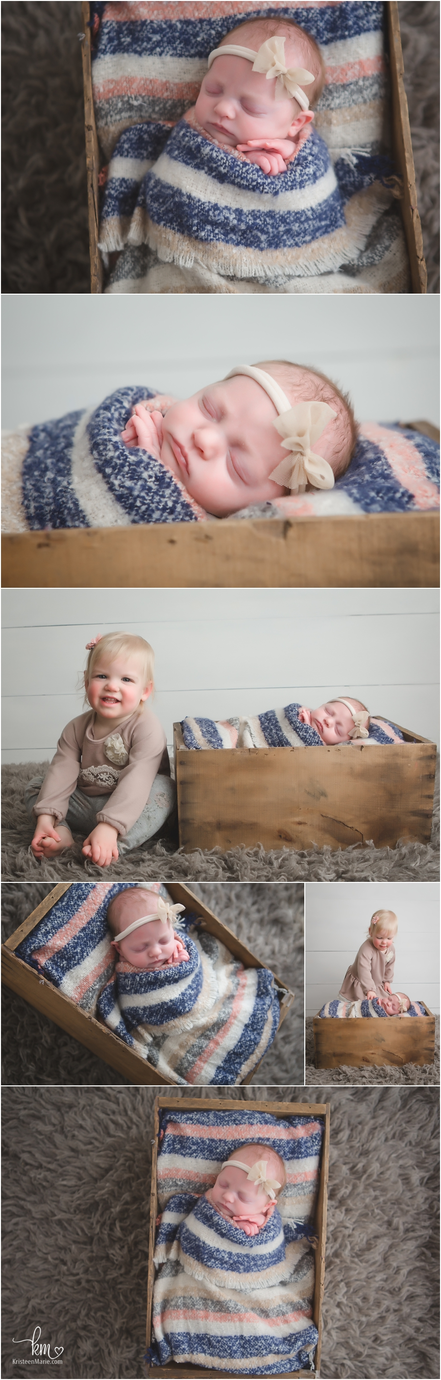 muted tones newborn photography - sibling pictures with newborn baby and 2 year old