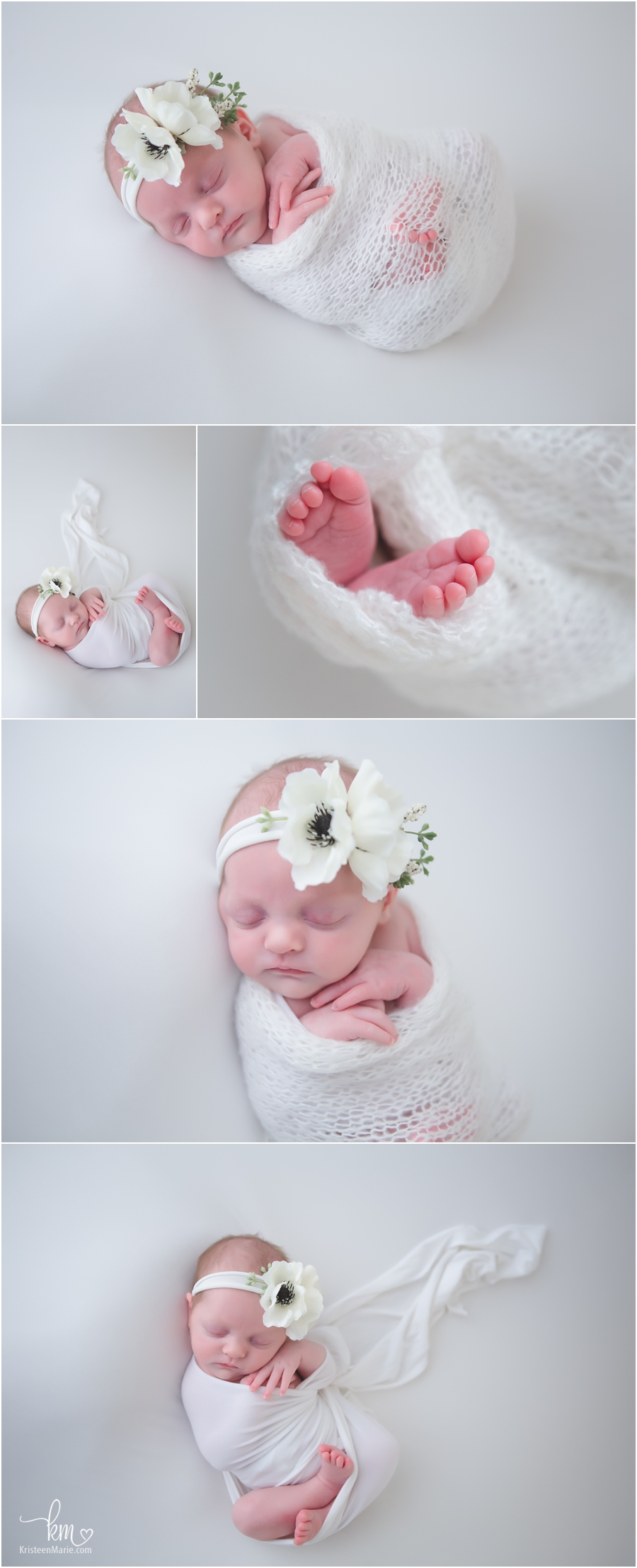 newborn baby in white - white newborn pictures - sleeping little girl - classic images