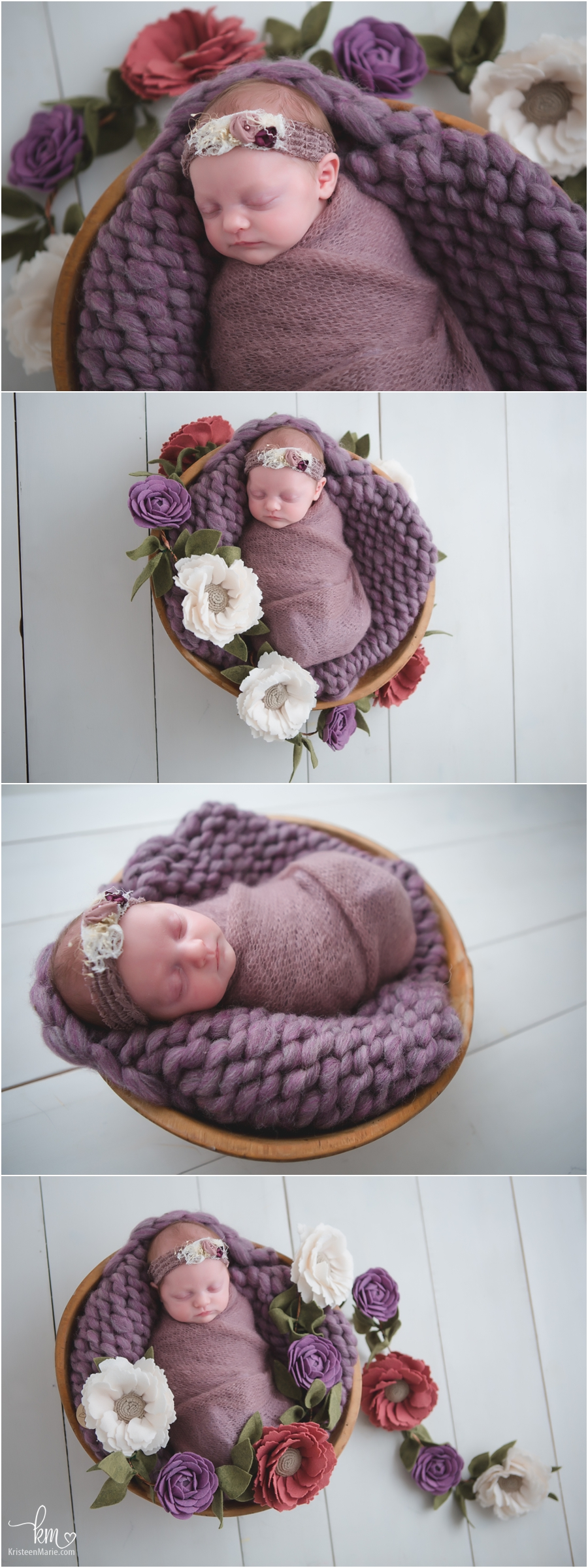 purple and flowers newborn pictures