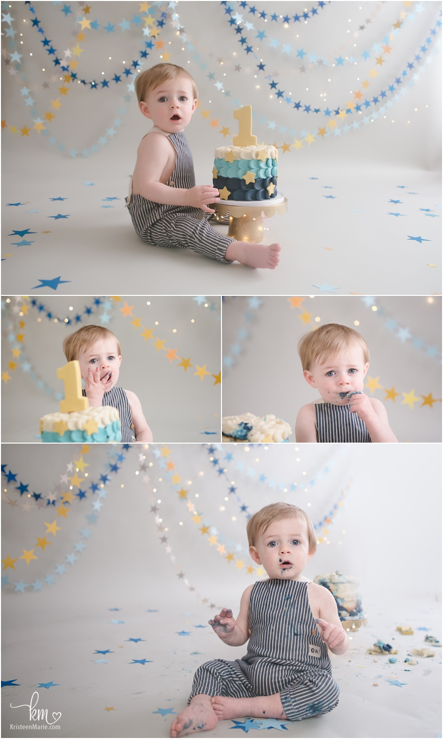 star themed 1st birthday cake smash session - Indianapolis photographer KristeenMarie
