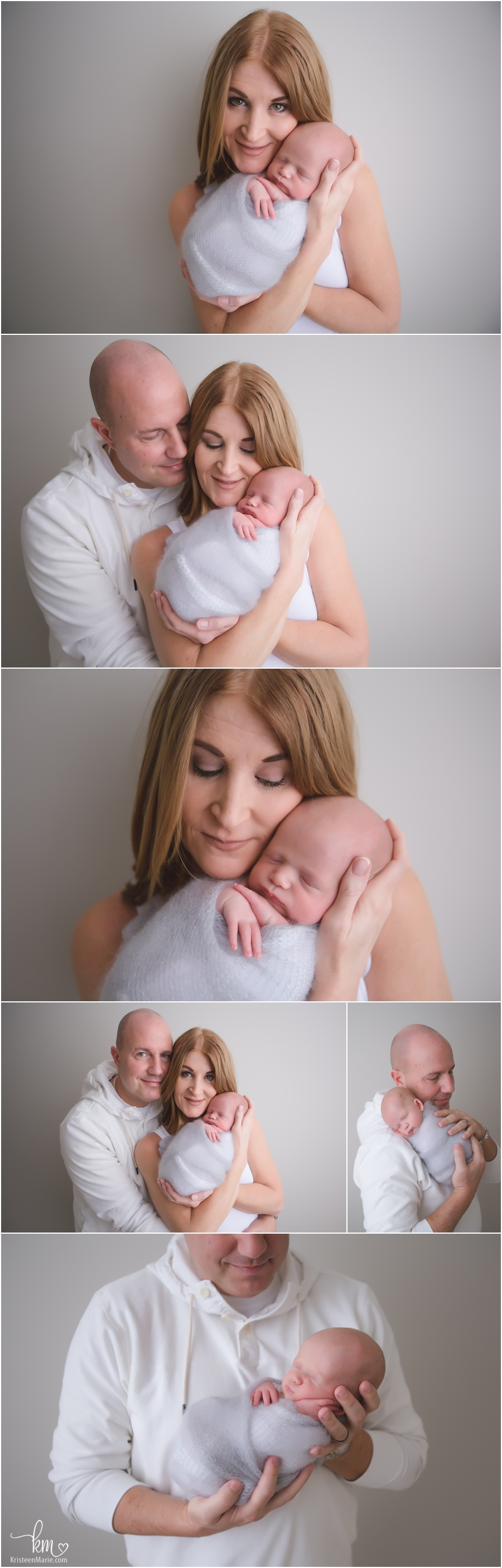 parents and newborn baby - studio poses for parents and baby - intimate