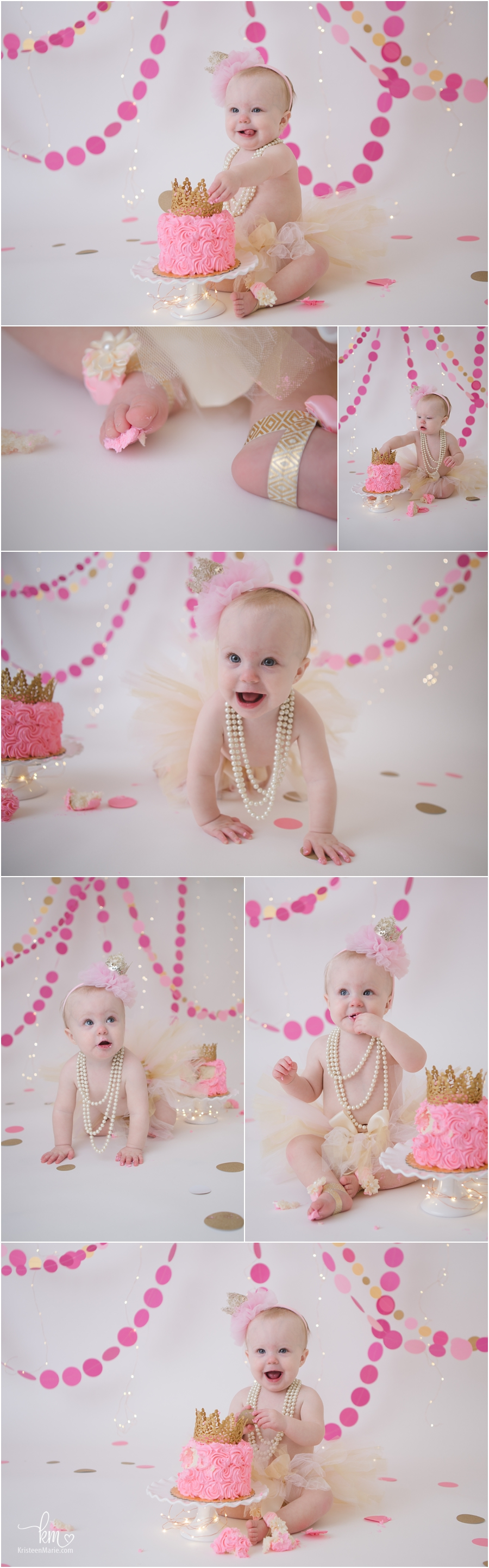 1st birthday cake smash session - pink and gold princess themed