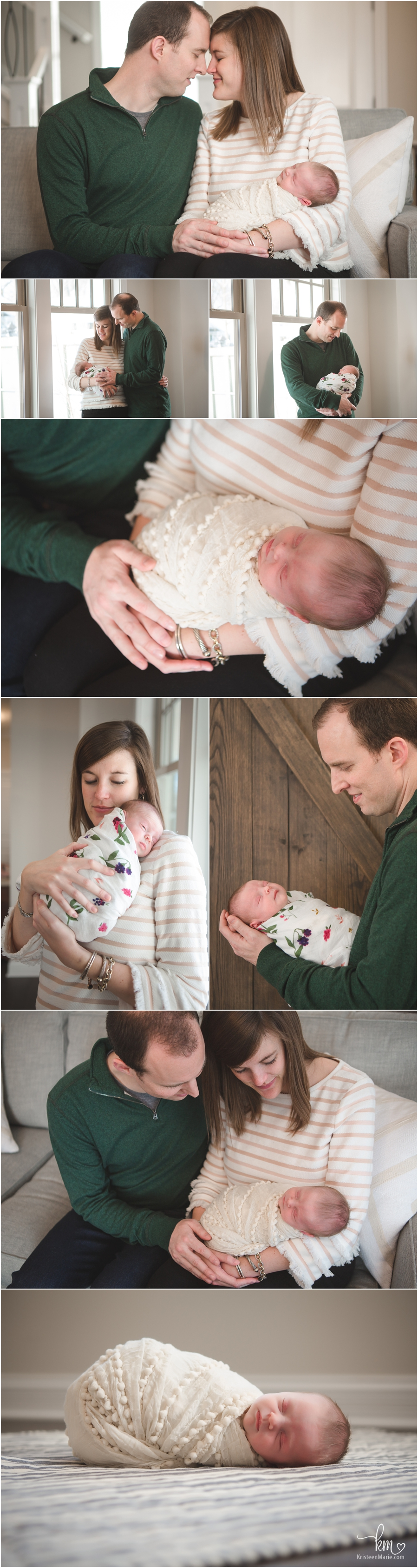lifestyle newborn pictures - parents and baby poses