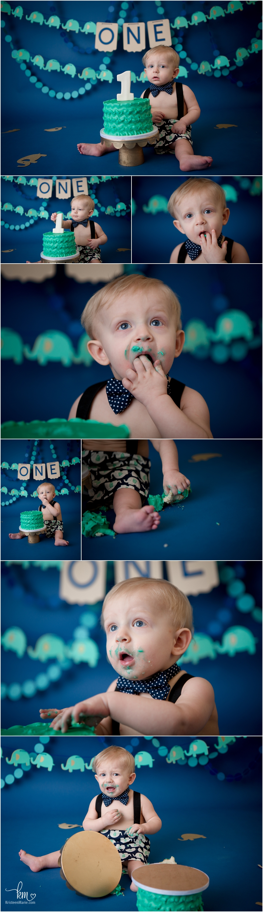 teal, navy blue, and gold elephant cake smash setup for 1st birthday pictures