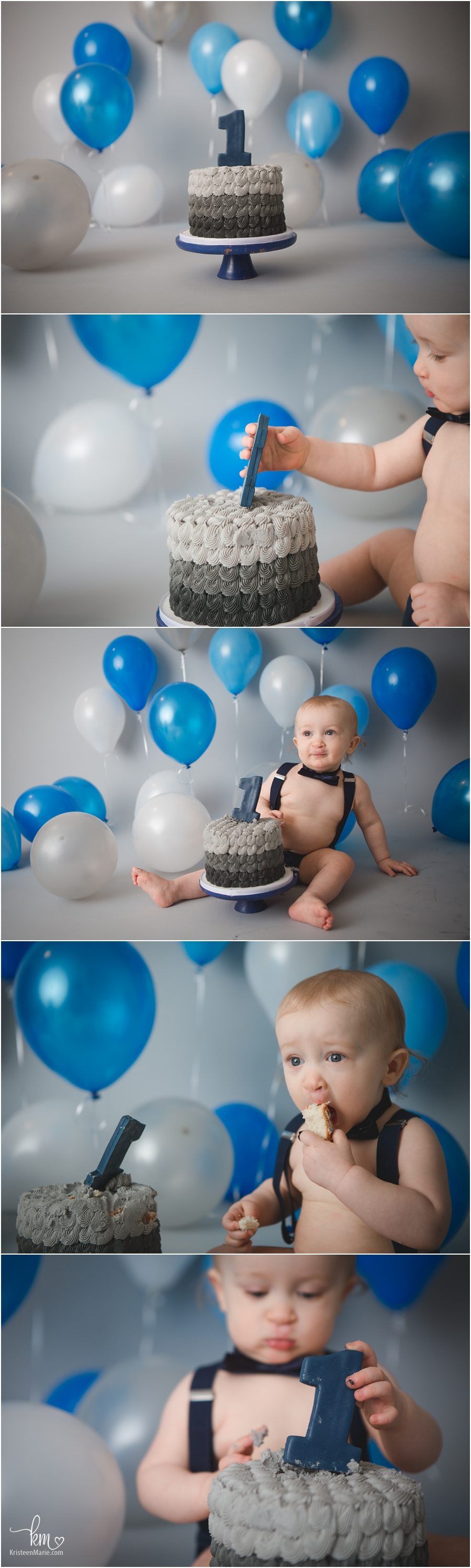 blue, grey and silver balloon themed cake smash session