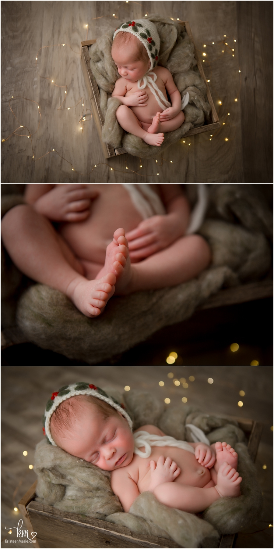 Christmas themed newborn baby pictures - green with wood floors and Christmas lights