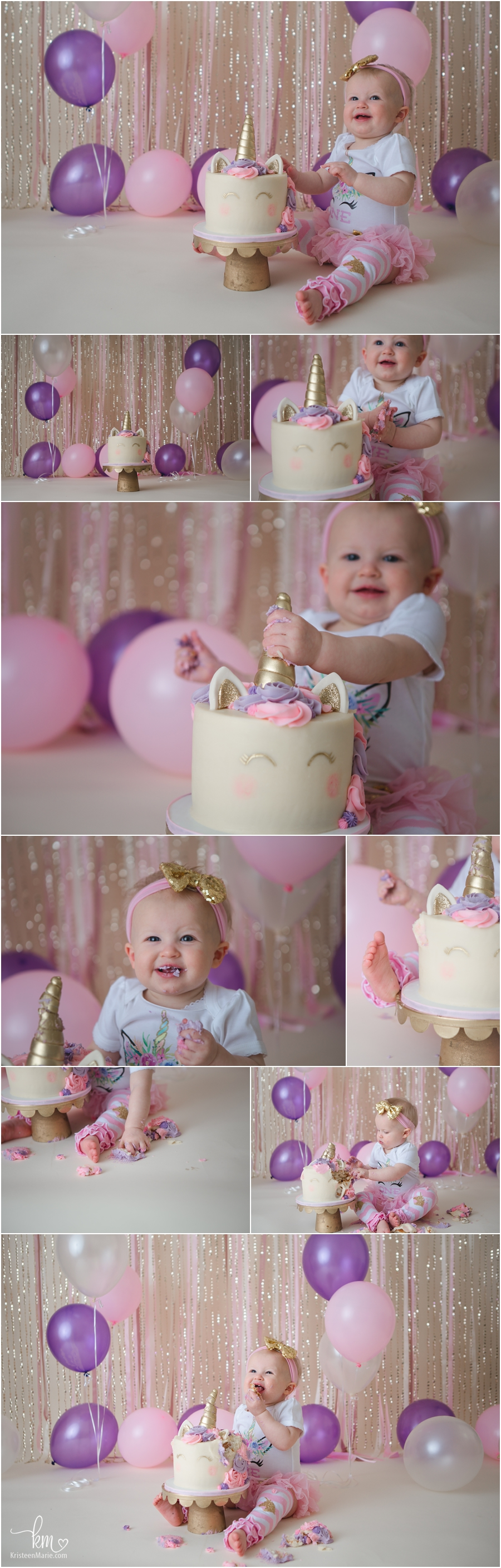 pink, purple and gold unicorn cake smash - 1st birthday theme