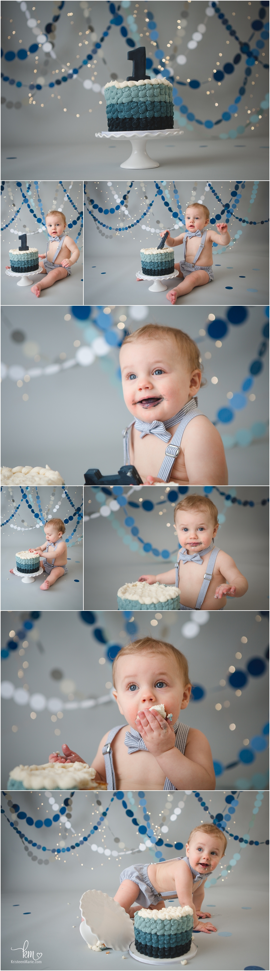 blue ombre with white and grey - 1st birthday theme - cake smas photography session by KristeenMarie Photography
