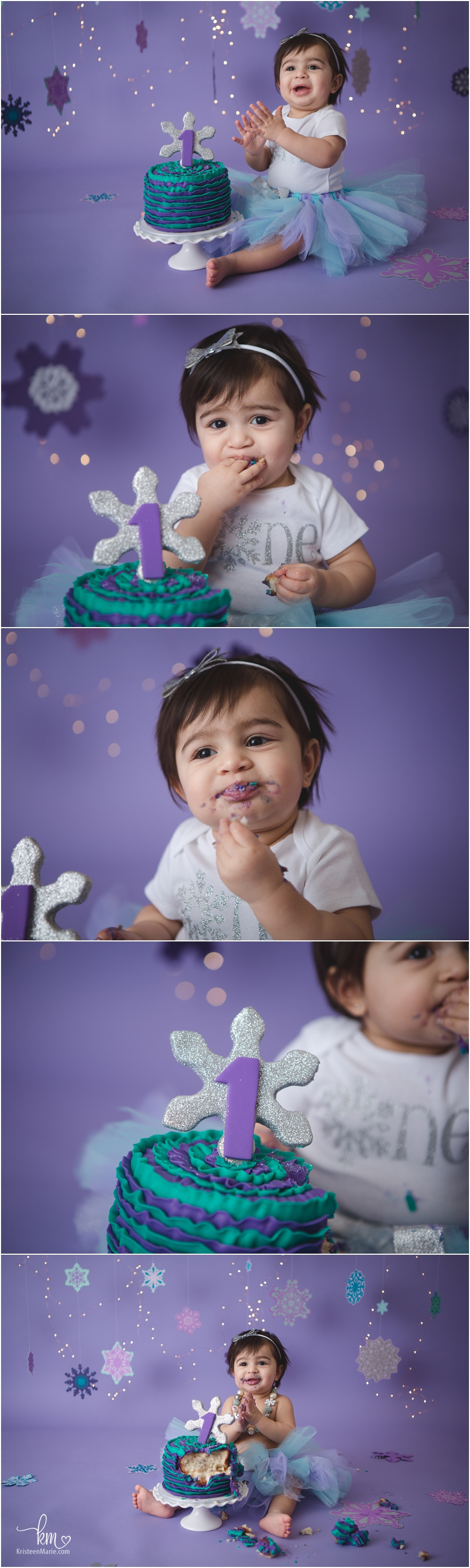 teal and purple winter ONEderland cake smash session