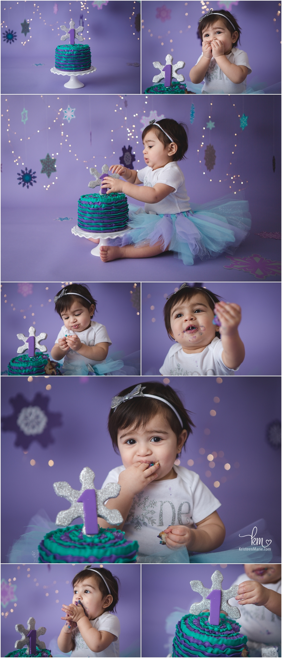purple and teal cake smash session - snow flake themed with twinkle lights