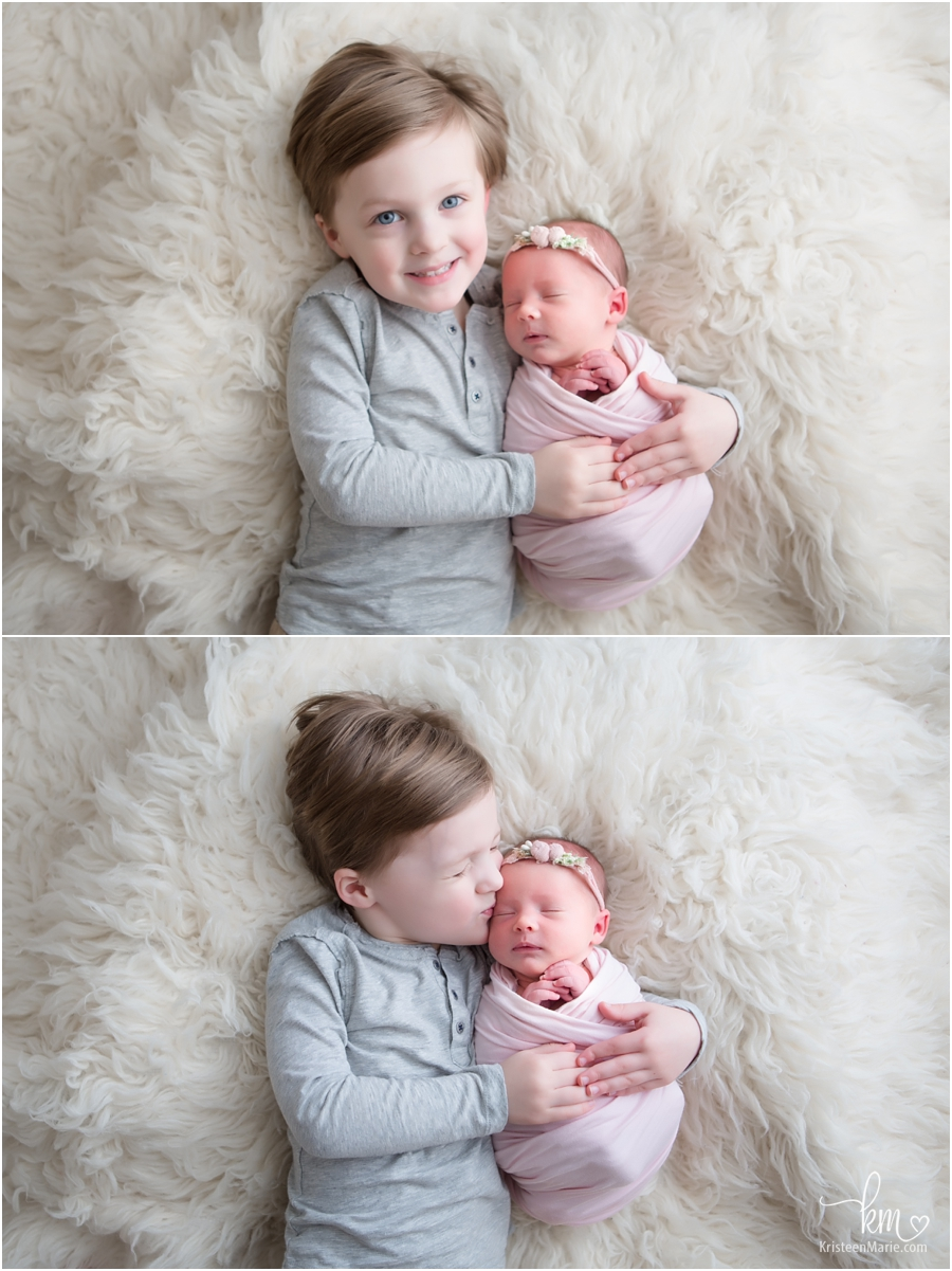 big brother and newborn baby sister - sibling poses