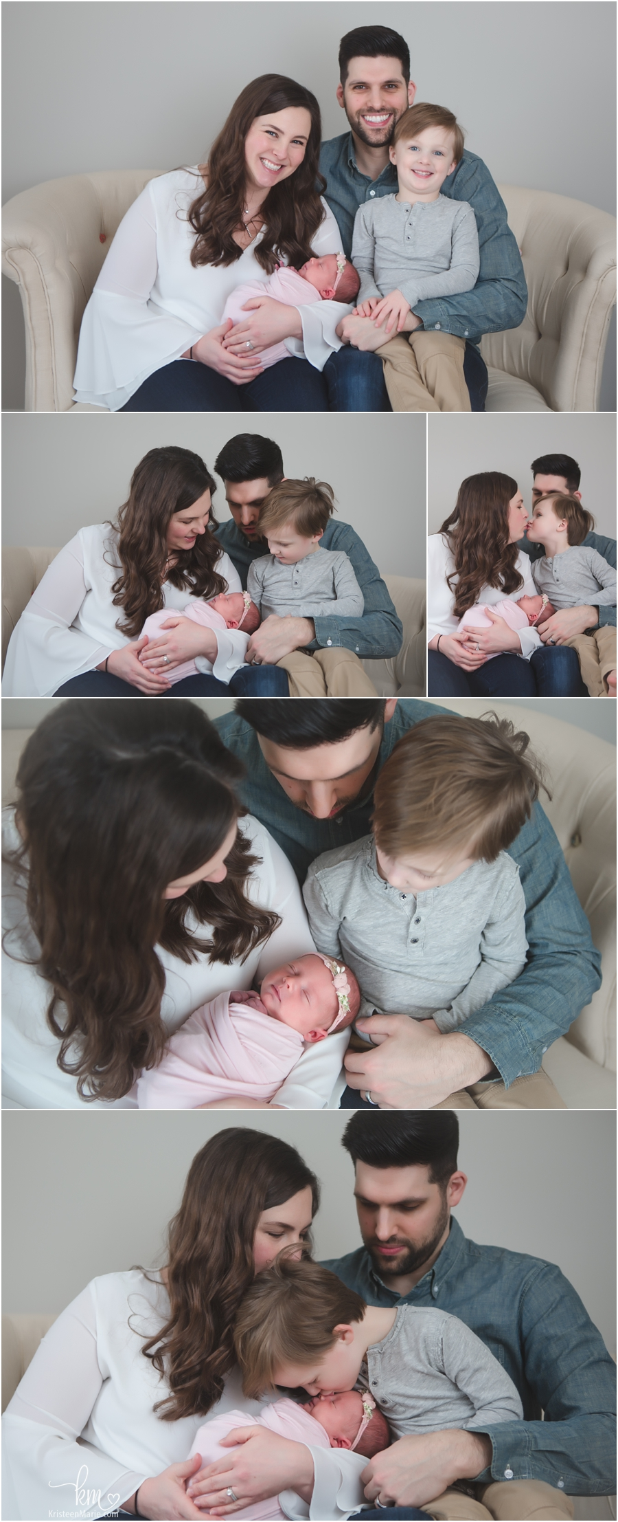 family poses with newborn baby - Westfield photography studio
