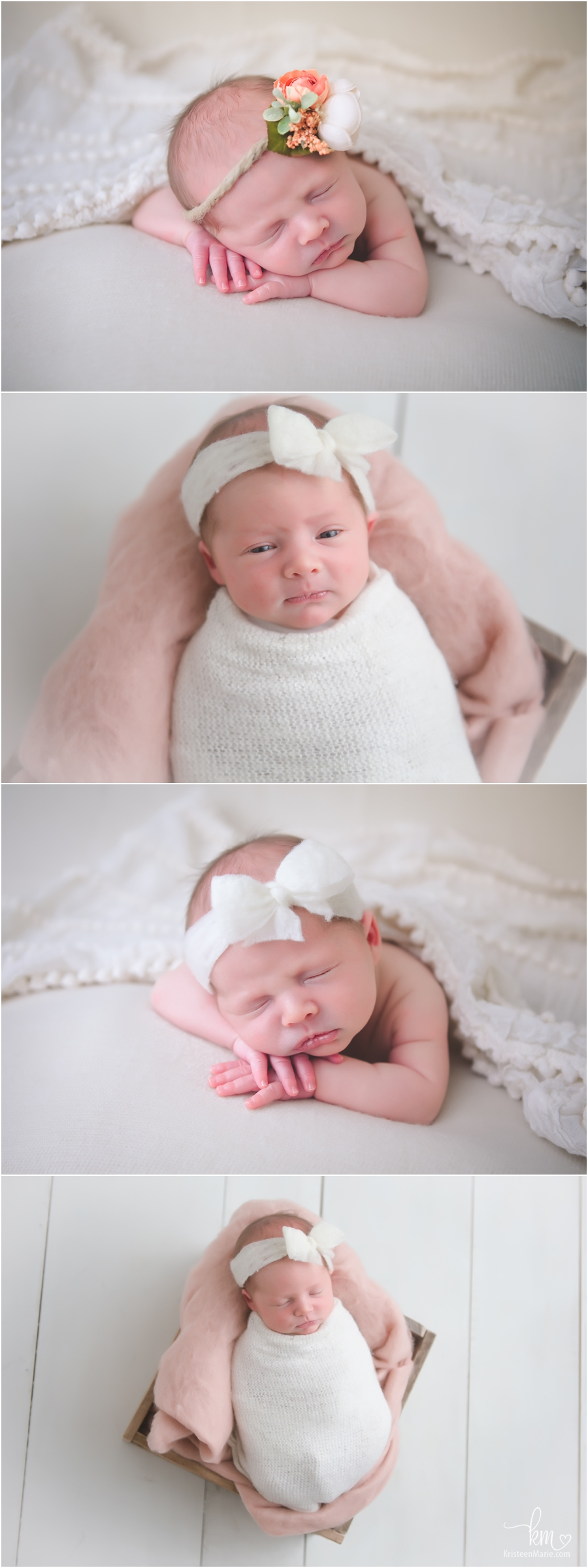 peach and cream newborn pictures - adorable newborn photography