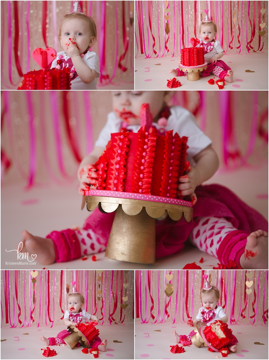 pink, red, and gold valentines day hearts cake smash for 1st birthday