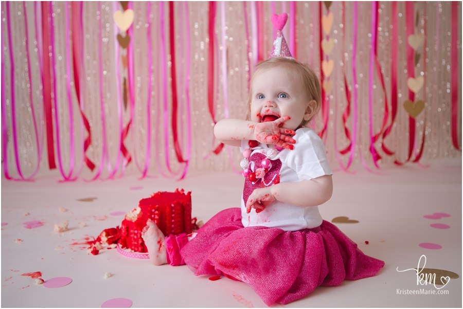 1st birthday cake smash - pink, gold, and red themed heart smash