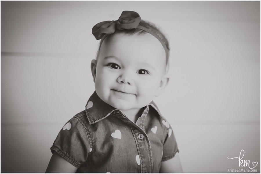 beautiful black and white image of one-year-old girl