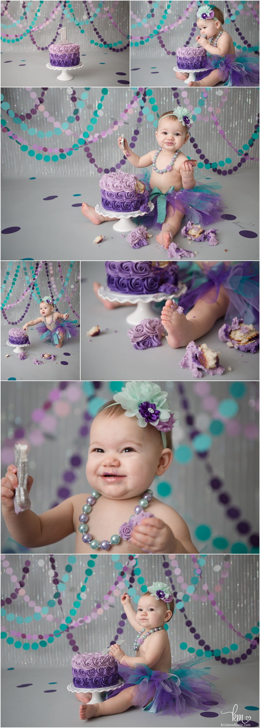 purple and teal 1st birthday cake smash