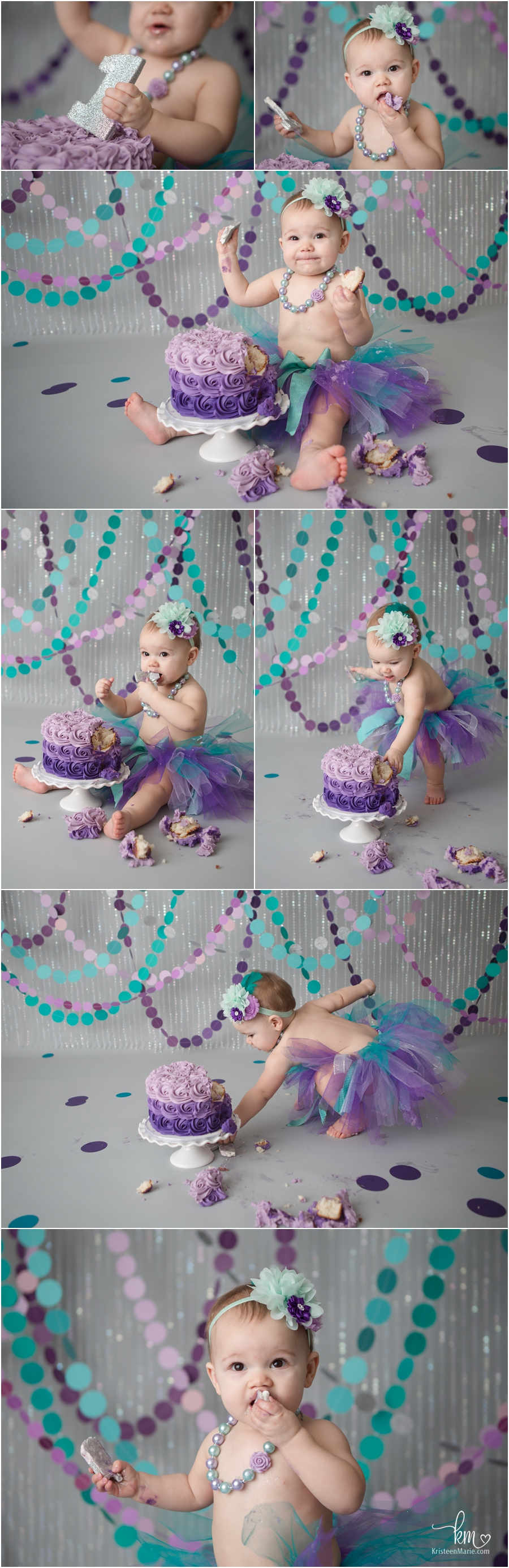 purple and teal 1st birthday theme cake smash photography
