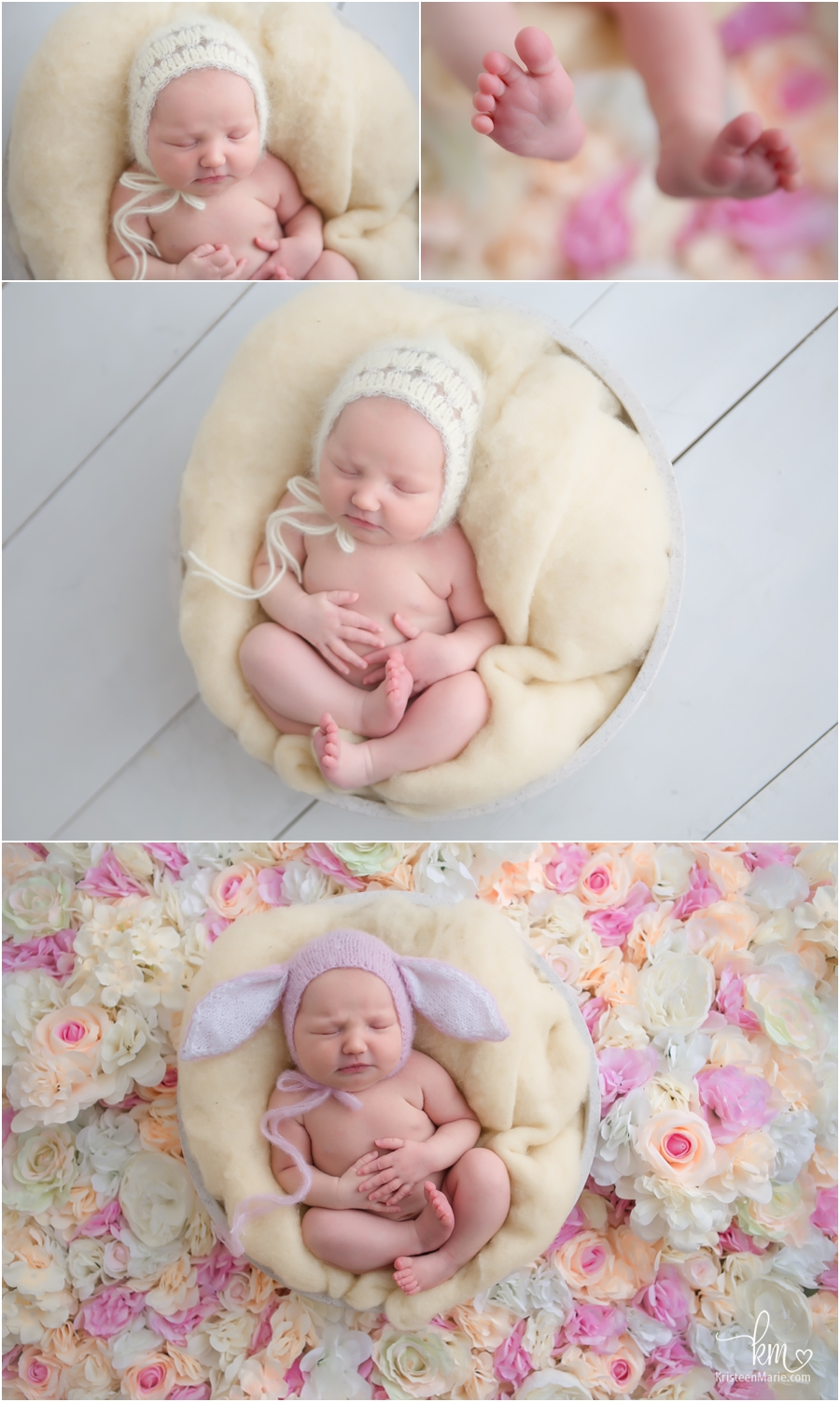 Easter newborn pictures - bunny hat on newborn baby with lots of Spring flowers