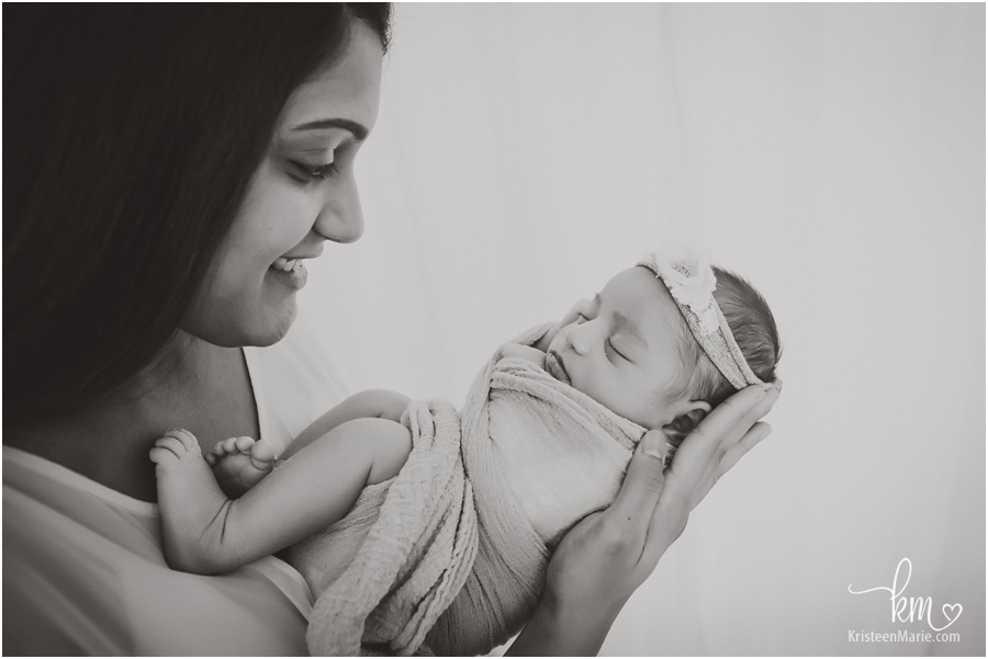 mom and baby in black and white - Carmel newborn photography