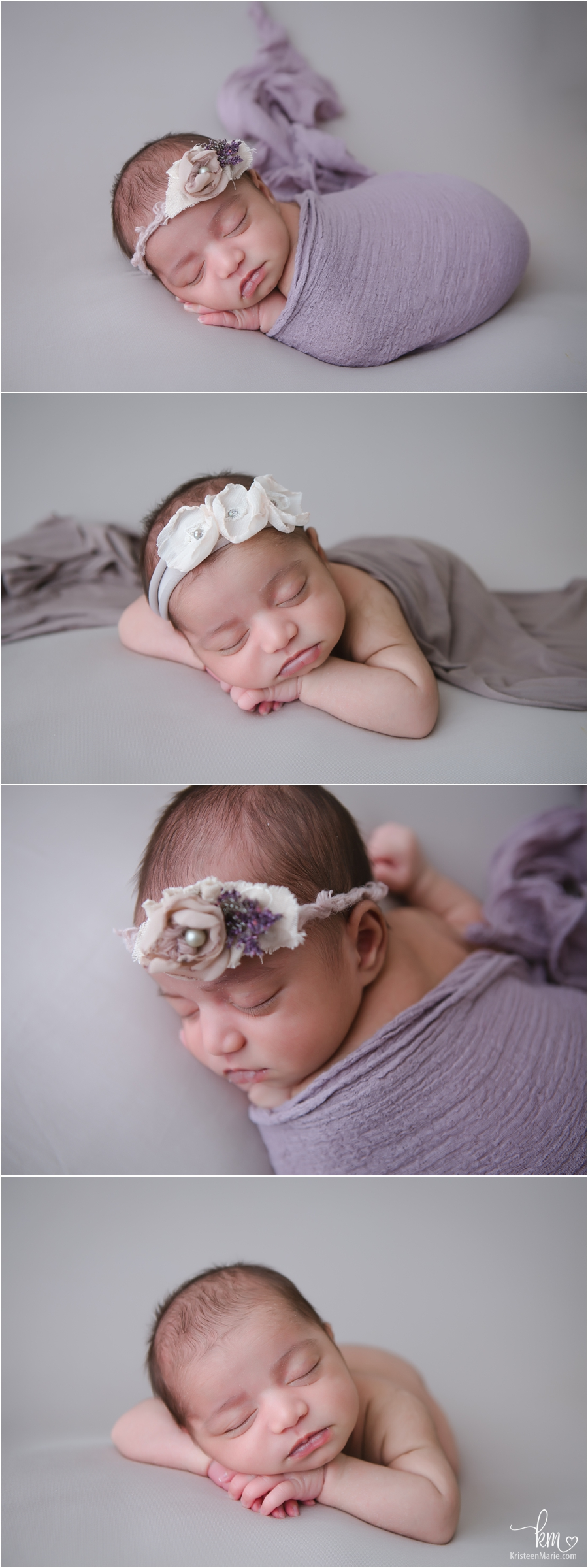 purple and brown newborn pictures with baby girl - Carmel newborn picture