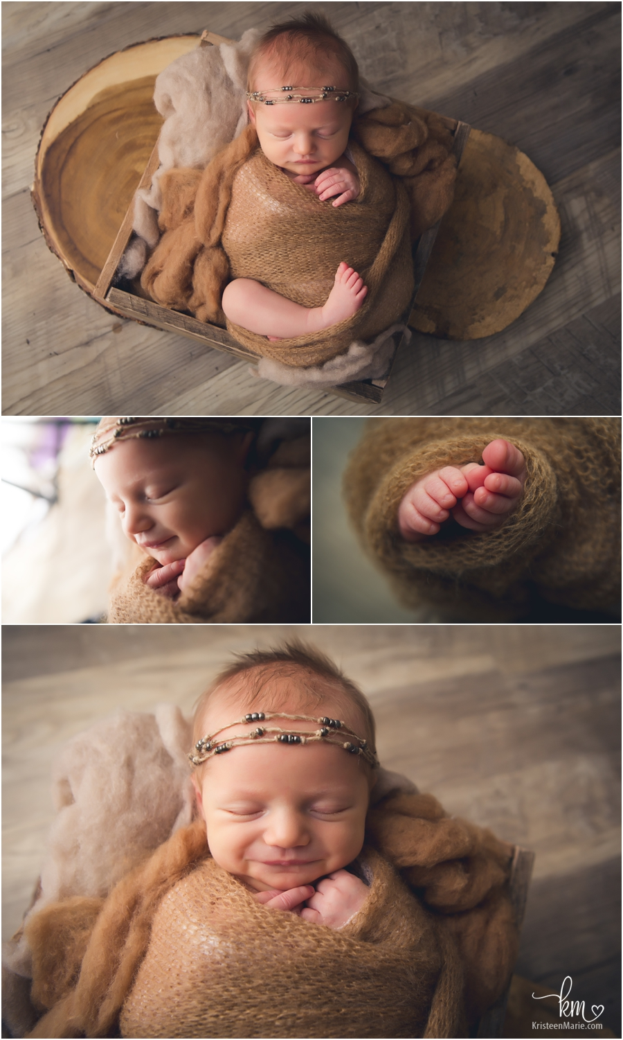 moody rustic newborn pictures of baby girl - brown earthy tones