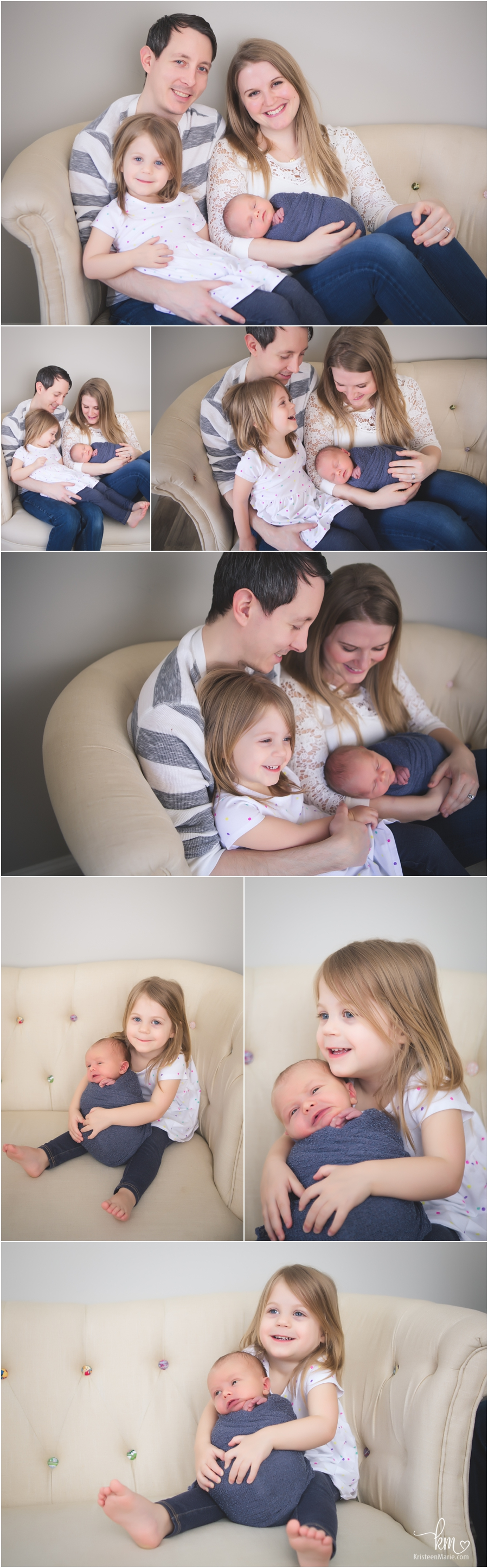 Fishers family with newborn baby in photography studio