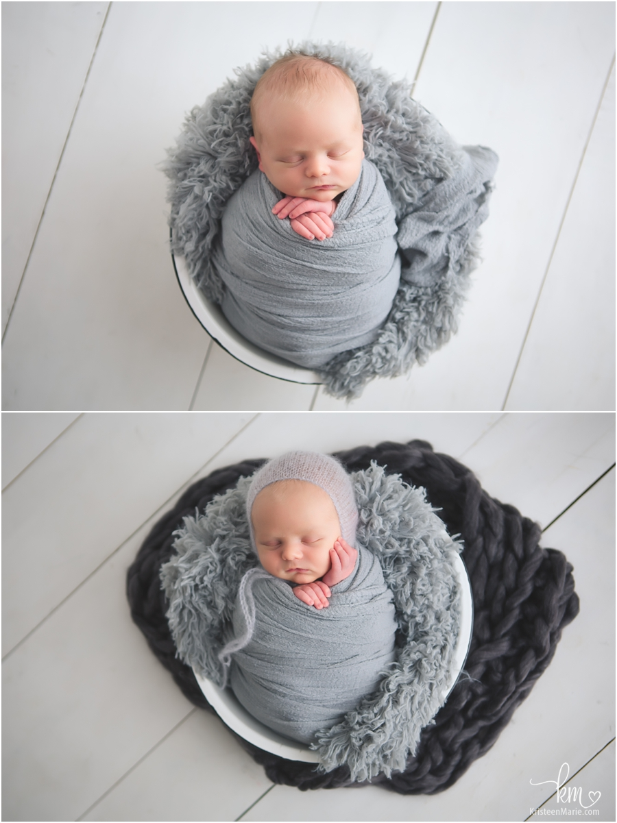 grey and white newborn photography