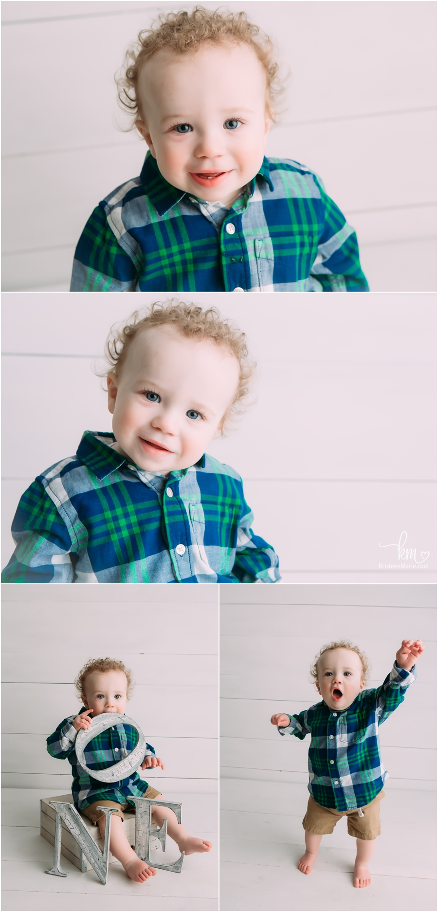 one year old boy with blue eyes and curly hair