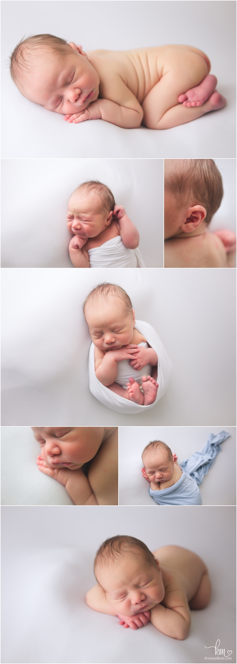 newborn baby on white - simple and classic - newborn photography in Indianapolis