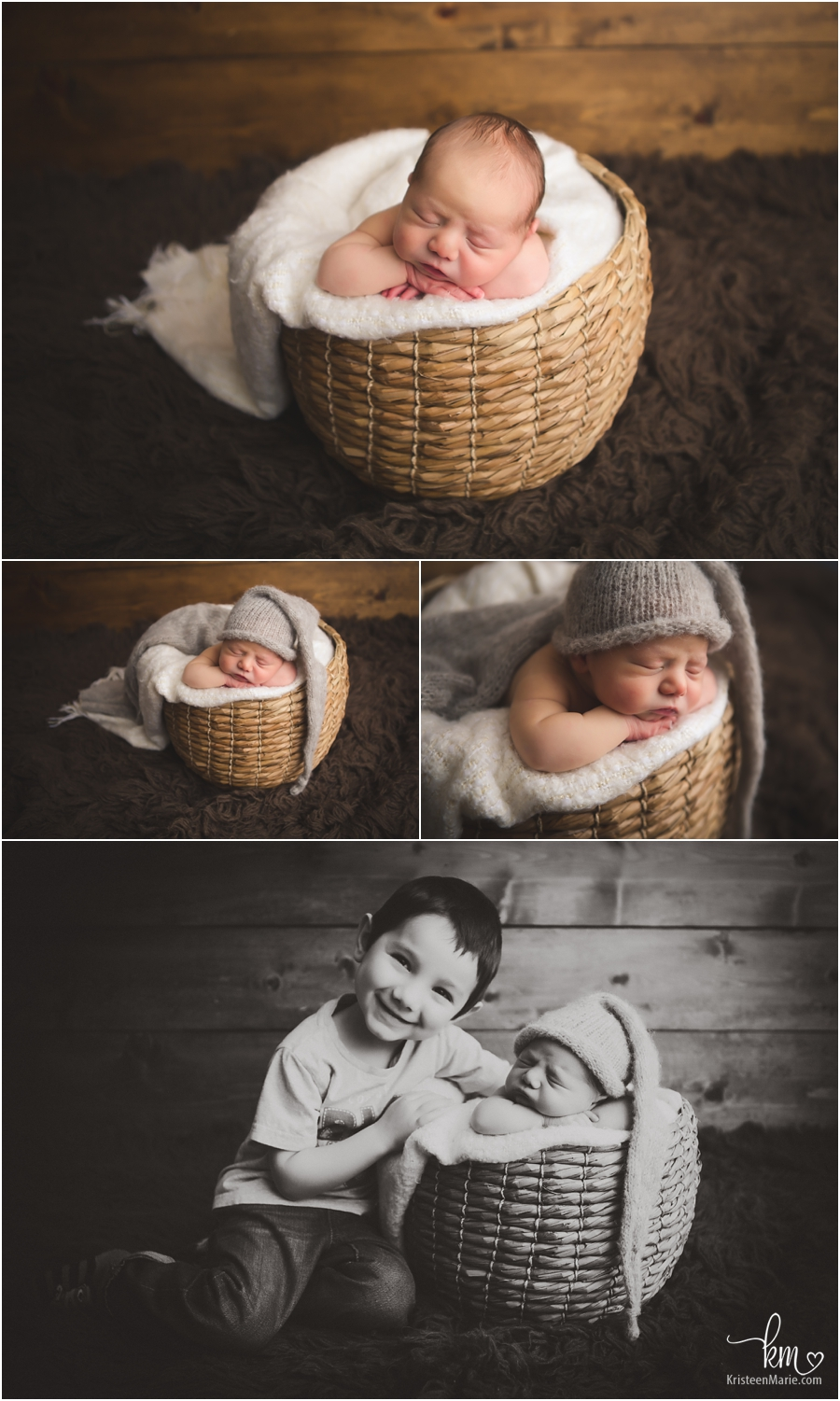 baby in a wicker basket - newborn photography in Indianapolis