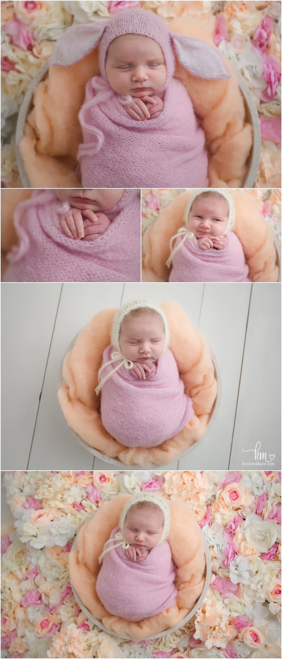Spring newborn pictures - easter bunny hat on newborn - pink, orange, and cream