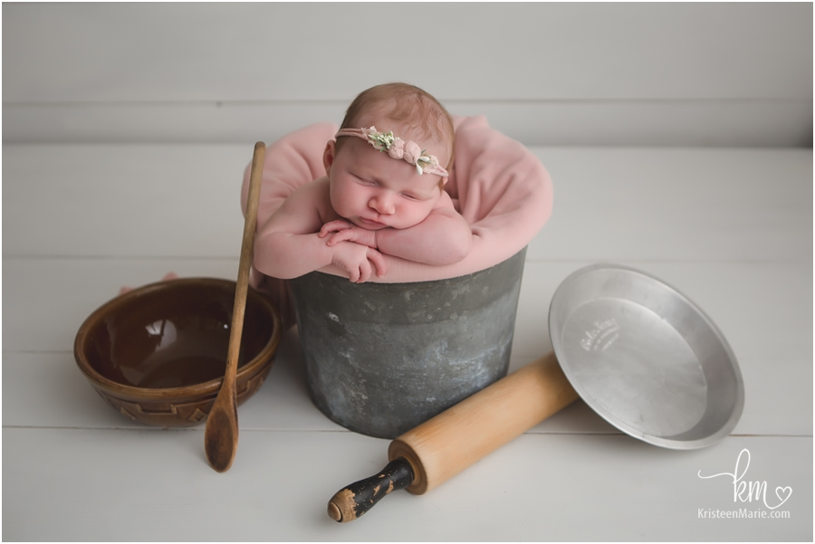 newborn baby picture with baking supplies - baking newborn picture