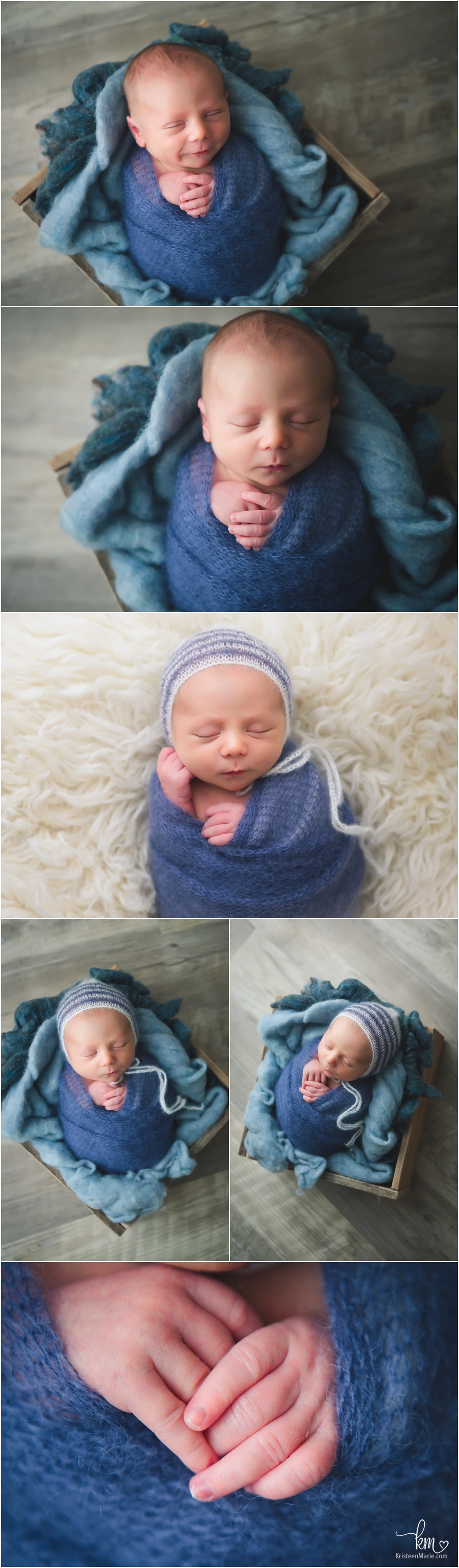 sleeping newborn boy in blue - beachy theme/set-up
