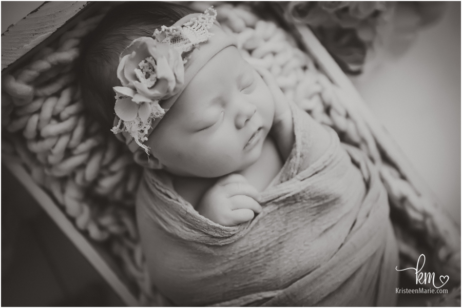 Newborn baby picture in black and white from Fishers, IN