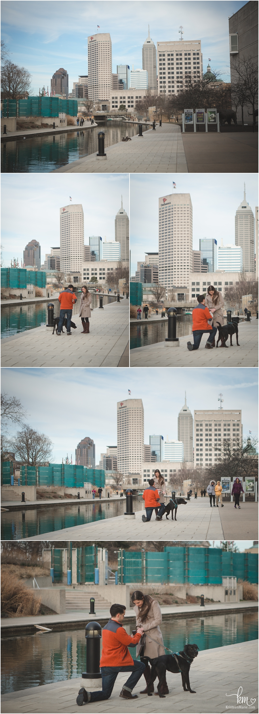 proposal on canal downtown Indianapolis - engagement photography