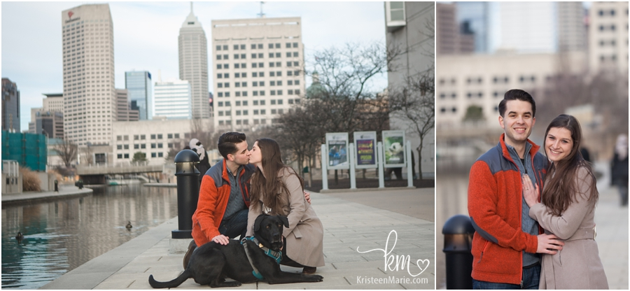 the newly engaged with pup downtown Indianapolis pictures