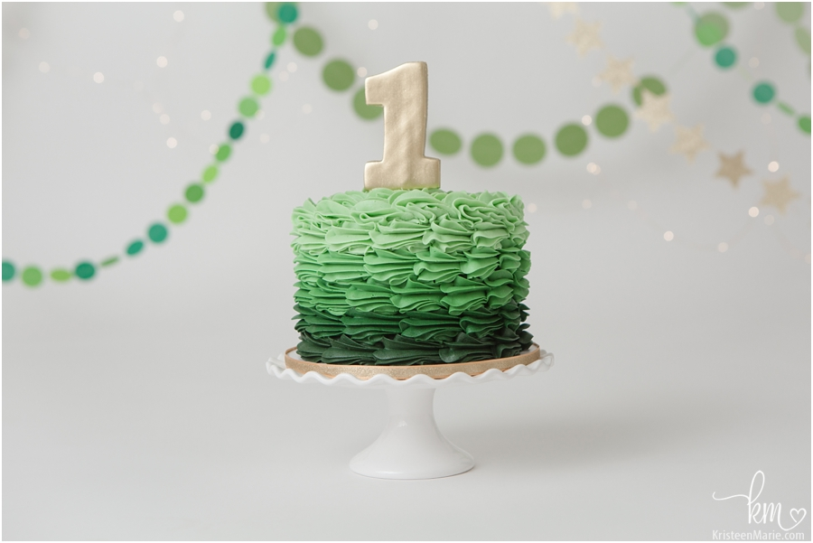 Birthday ckae - green ombre with gold