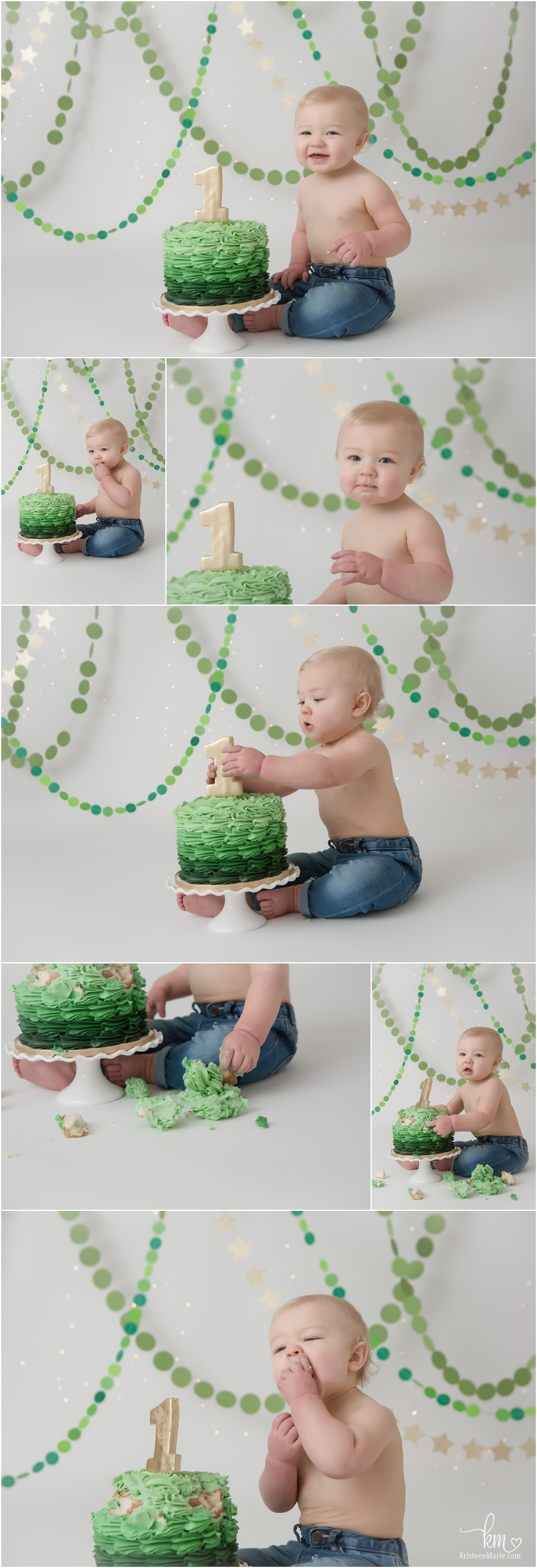 green ombre and gold 1st birthday cake smash session - first birthday theme